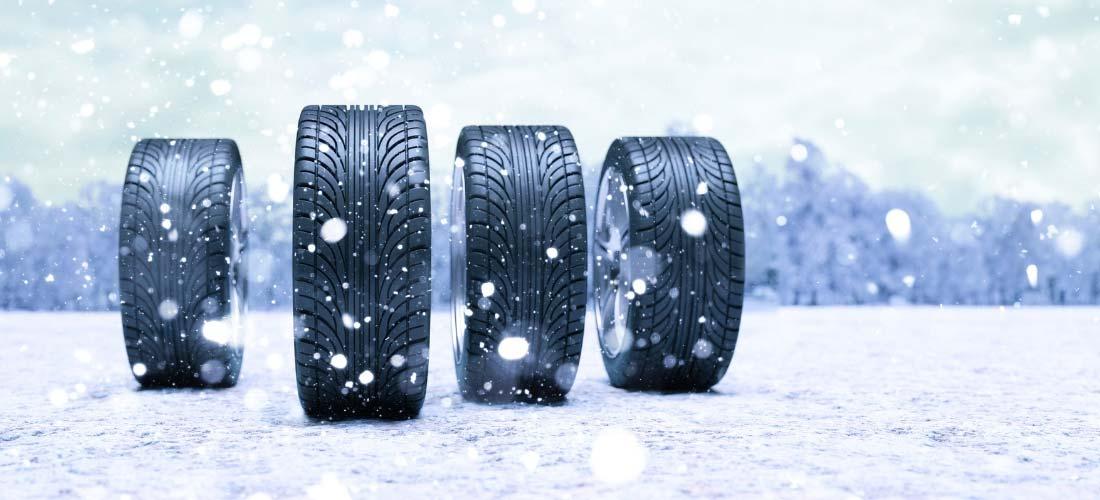 Winter tires on snow